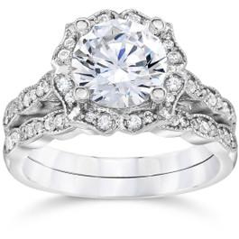 2.00CT Diamond Vintage Halo Engagement Ring 14K White Gold Wedding Ring Set (H/I, I1)