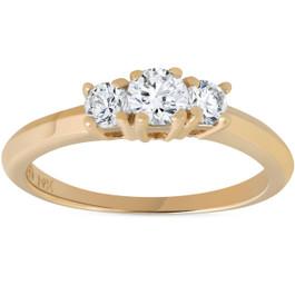 1/2ct Three Stone Diamond Engagement Ring 14K Yellow Gold (G/H, I2)