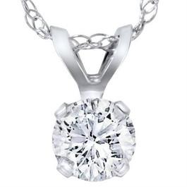 14k White Gold 3/8ct Round Diamond Solitaire Pendant (G/H, I1)