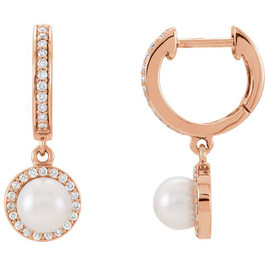 14kt Rose Freshwater Cultured Pearl & 1/5ctW Diamond Dangle Hoops Earrings (G, SI1)