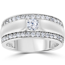 1 3/4 CT Mens Diamond Wedding Ring 10K White Gold (H/I, I1-I2)