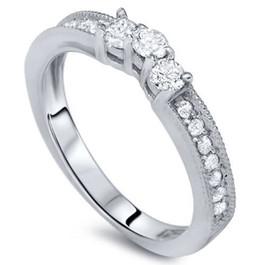 1/3ct Curved Diamond Vintage Ring 14K White Gold (H/I, I1-I2)