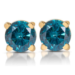 1/3ct Blue Diamond Studs 14 Karat Yellow Gold (Blue, I1)