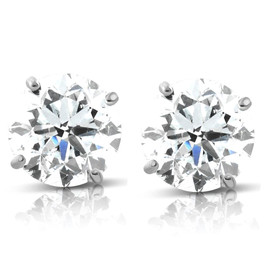 1.70 cttw 14K White Round Cut Studs Earrings Screw Back (G-H, I2-I3)