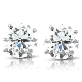 1.70 cttw 14K White Round Cut Studs Earrings Screw Back (G-H, I2-I3)