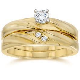 1/4CT Diamond Engagement Wedding Ring Set 10K Yellow Gold (H/I, I2-I3)