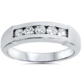 Mens 1/2ct 14K White Gold Round Diamond Wedding Ring (G/H, I1)