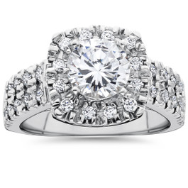 2 Ct Diamond Cushion Halo Engagement Ring Double Row Solitaire White Gold (G/H, I1-I2)