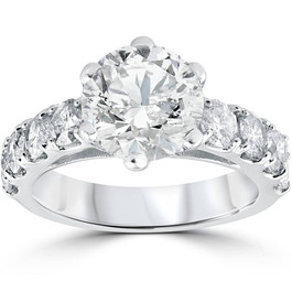 4 1/2ct Round Enhanced Diamond Engagement Ring 14K White Gold (H/I, I1-I2)