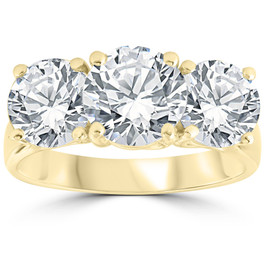 5 ct Diamond 3 Stone Round Solitaire Engagement Ring 14K Yellow Gold (H-I, I1-I2)