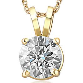 1ct Round Diamond Solitaire Pendant 14k Yellow Gold Enhanced ((G-H), SI(1)-SI(2))