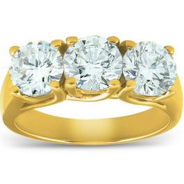 2 1/2ct Three Stone Diamond Ring 14K Yellow Gold (G/H, SI)
