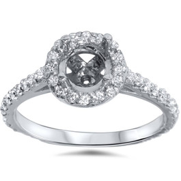 1/2ct 14K White Gold Diamond Engagement Semi Mount Ring (G, SI)