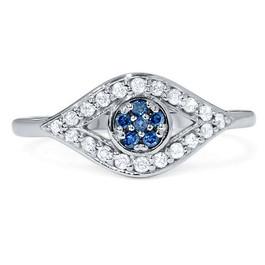 1/3ct Blue & White Diamond Evil Eye Ring 14K White Gold (G/H, I2-I3)