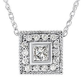 1/3ct Diamond Princess Cut Halo Vintage Pendant 14K White Gold (G-H, I1-I2)