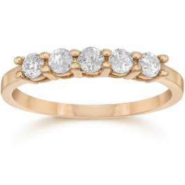3/4ct Five Stone Diamond Ring 14K Rose Gold (G/H, I2-I3)