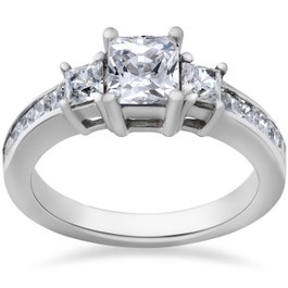 2ct Three Stone Princess Cut Diamond Ring 14K Gold (H/I, I1)