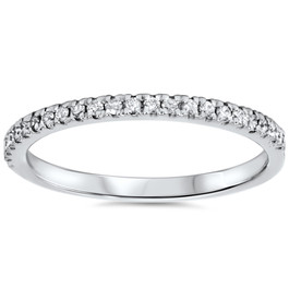 1/5ct Pave Diamond Wedding Ring 10K White Gold (G/H, I2-I3)