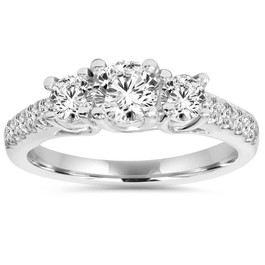 1 1/6ct 3 Stone Genuine Diamond Engagement Ring 14K White Gold (G/H, I1-I2)