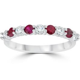 1/2CT Ruby & Diamond Wedding Ring 10K White Gold (H/I, I1-I2)