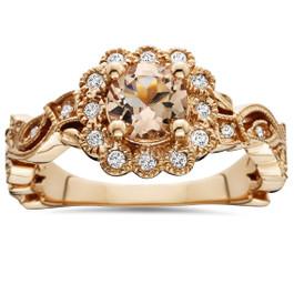 1 Carat Morganite & Diamond Engagment Vintage Ring 14K Rose Gold (H/I, I1)