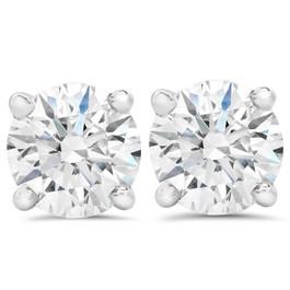 3ct Round Diamond Studs W/ Screw Back 14K White Gold (F, SI(1)-SI(2))