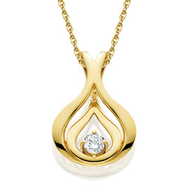 """Diamond Solitaire Pendant & Chain Yellow Gold 5/8"""" Tall (G/H, SI)"""