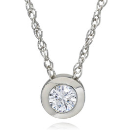 3/8ct Bezel Solitaire Lab Created Diamond Pendant 14K White Gold (F, SI(1)-SI(2))