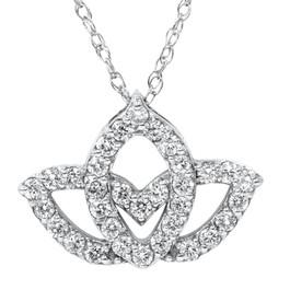 3/8ct Diamond Lotus Flower Pendant Necklace 14K White Gold (G/H, I2)