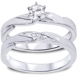 1/4ct Diamond Engagement Wedding Ring Set 10K White Gold (I/J, I2-I3)