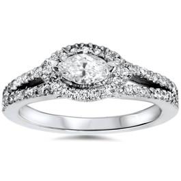 1ct Marquise Diamond Halo Split Shank Engagement Ring White Gold (G/H, I1-I2)