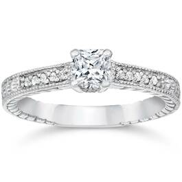 1/3ct Princess Cut Diamond Engagement Ring 14K White Gold (G/H, I2)