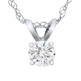 1/5ct Lab Created Diamond Solitaire Pendant 14K White Gold (F, VS/SI)