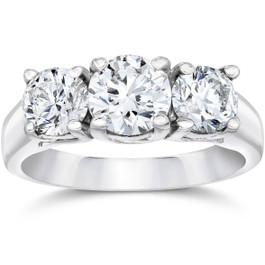 2 CT Three Stone Round Diamond Engagement Ring 14K White Gold ((G-H), SI(1)-SI(2))
