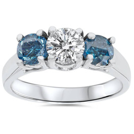 1 3/4ct Blue & White Diamond Three Stone Engagement 14K White Gold Ring (G/H, I1)