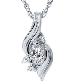 1/5ct Marquise Fancy Diamond Solitaire Accent Pendant 14K White Gold (G/H, I1)