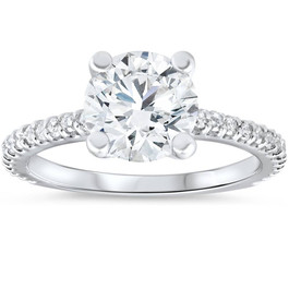 3 Carat Diamond Engagement Solitaire Ring 14K White Gold Enhanced Round Cut (I/J, I1)