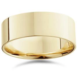 Mens 8mm 14K Yellow Gold Comfort Fit Flat Wedding Band