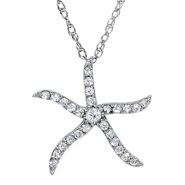 "1/4ct Diamond Starfish Pendant 10K White Gold W/ 18"" Chain (G/H, I2)"