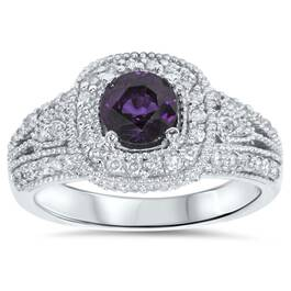 1 1/2ct Vintage Amethyst & Diamond Halo Ring 14K White Gold (H/I, I2)