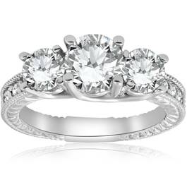 2 1/2ct Vintage Three Stone Diamond Engagement Ring 14K White Gold ((G-H), SI(1)-SI(2))