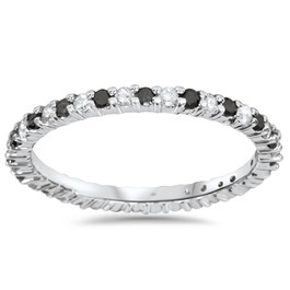 1/2ct Black & White Diamond Eternity Ring 14K White Gold (G/H, I2-I3)