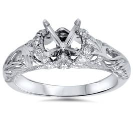 1/6ct Vintage Diamond Engagement Setting 950 Platinum (G/H, SI1-SI2)