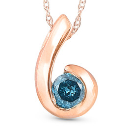 14K Rose Gold 1/4ct Blue Diamond Solitaire Pendant (Blue, I1)