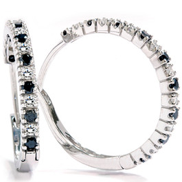 1/2ct Black & White Diamond Hoops 14K White Gold (G/H, I2)