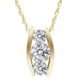 1/2ct Three Stone 3 Diamond Pendant 14K Yellow Gold (H, I1-I2)