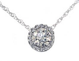 3/8ct Pave Halo Diamond Pendant 14K White Gold (G/H, I2)
