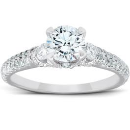 1 3/4 Ct Diamond Three Stone Engagement Pave Ring 14k White Gold (H/I, I1-I2)