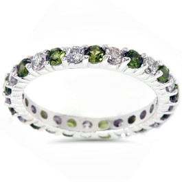 1 1/2ct Peridot & Diamond Common Prong Eternity Wedding Ring 14K White Gold (G/H, I1)
