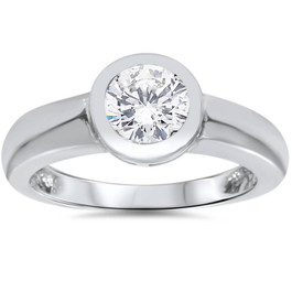 1ct Bezel Set Solitaire Diamond Engagement Ring 14K White Gold Round Enhanced (G/H, I1)